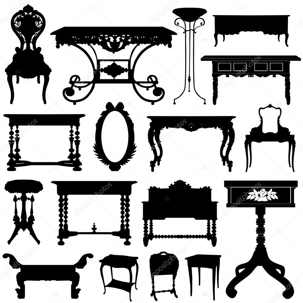 Antique Furniture Set Vector By Bogalo