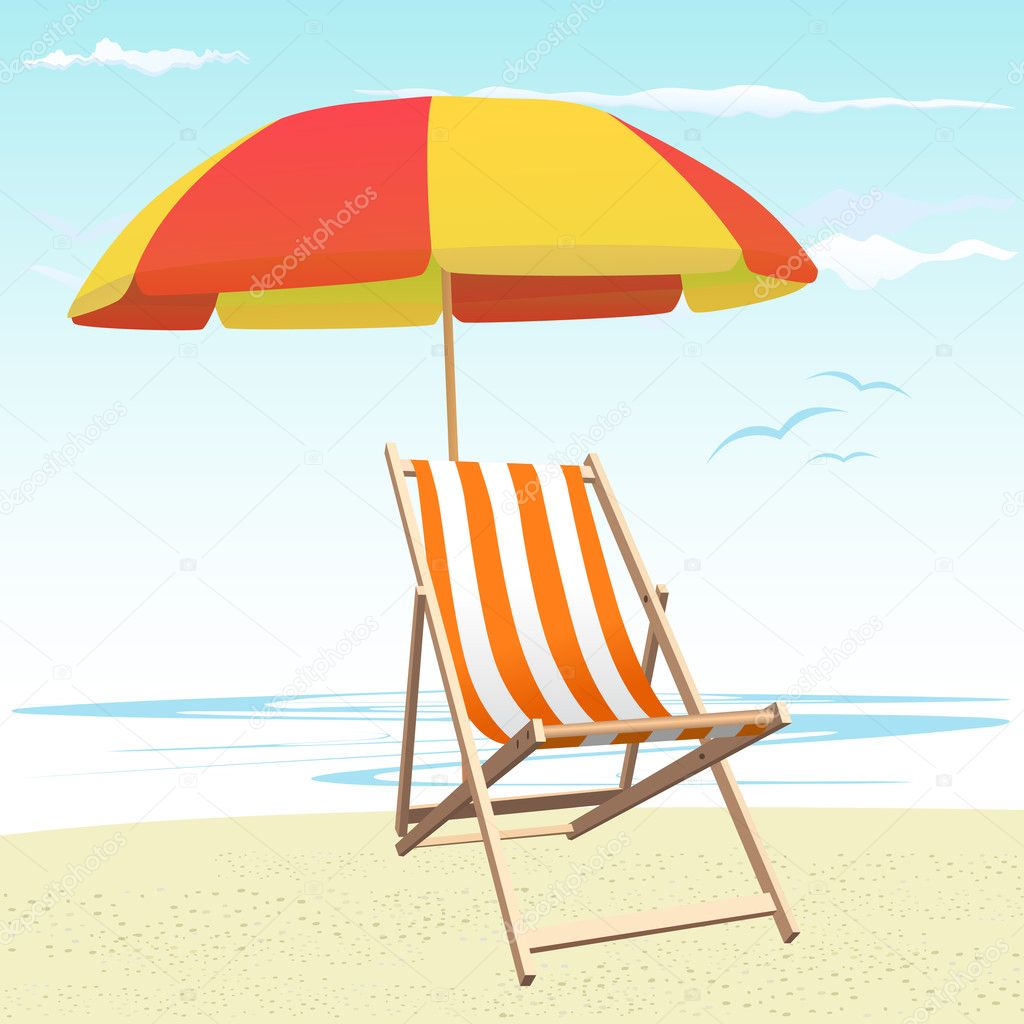 Beach chairs and umbrella — Stock Vector © bogalo