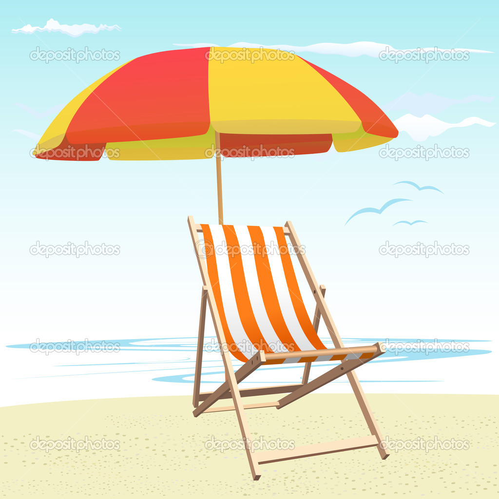 Beach chair and umbrella - Beach Chairs And Umbrella Vector Vector By Bogalo