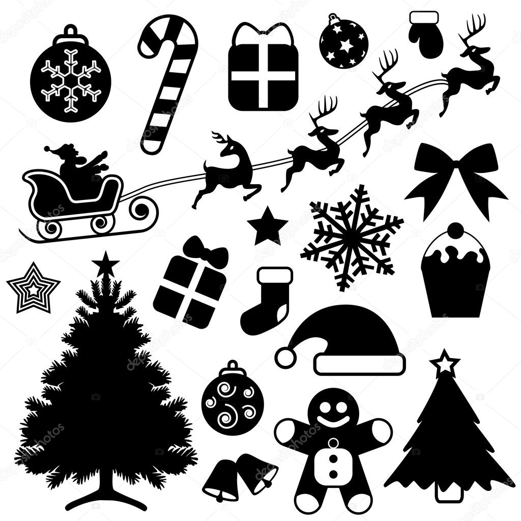 christmas icon set stock vector bogalo 8486594. Black Bedroom Furniture Sets. Home Design Ideas