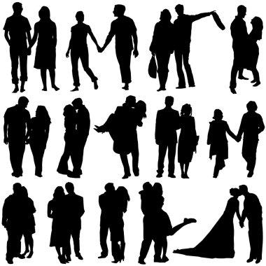 Lovers set vector clip art vector