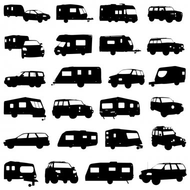 Caravan and jeep set vector stock vector