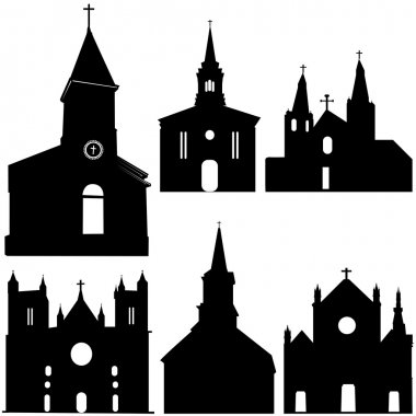 Silhouette of church vector art set stock vector