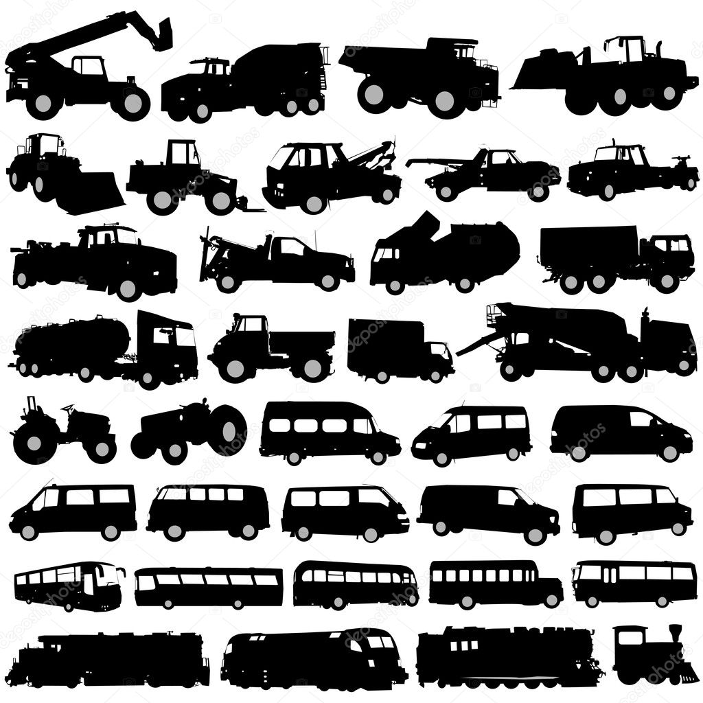 transportation and construction vehicles u2014 stock vector bogalo