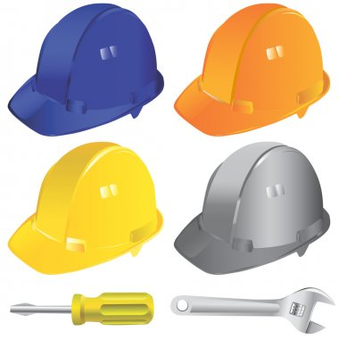 Construction workers hard hat set