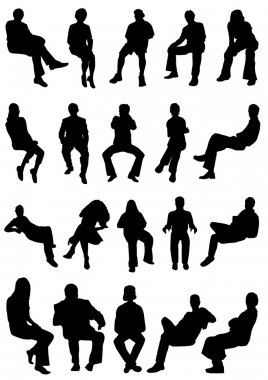 Collection of sitting vector stock vector