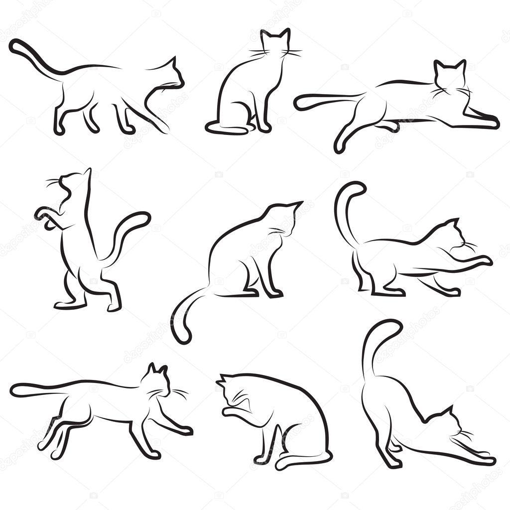Contour Line Drawing Of A Cat : Gato de desenho — vetores stock bogalo