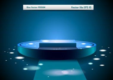 Blue vector podium