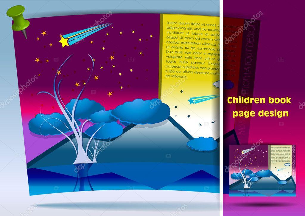 Book Cover Page Design For Kids : Дизайн страницы книги детей — Векторное изображение