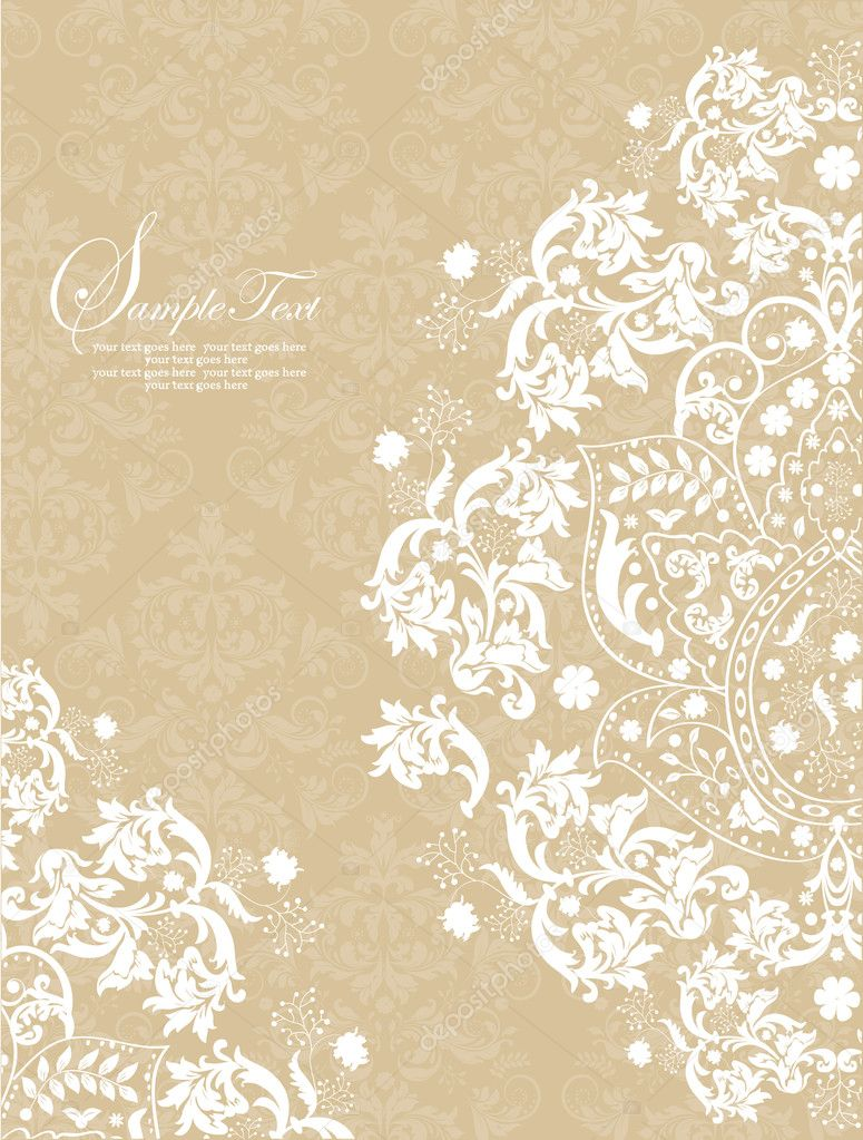 INVITATION CARD ON FLORAL BACKGROUND WITH PLACE FOR TEXT