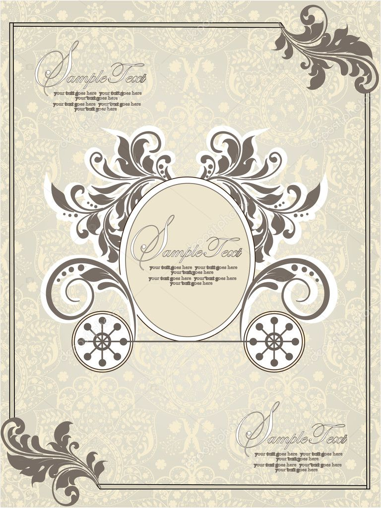 Vintage wedding invitation design with carriage stock vector abstract card vector by imagepluss stopboris Choice Image