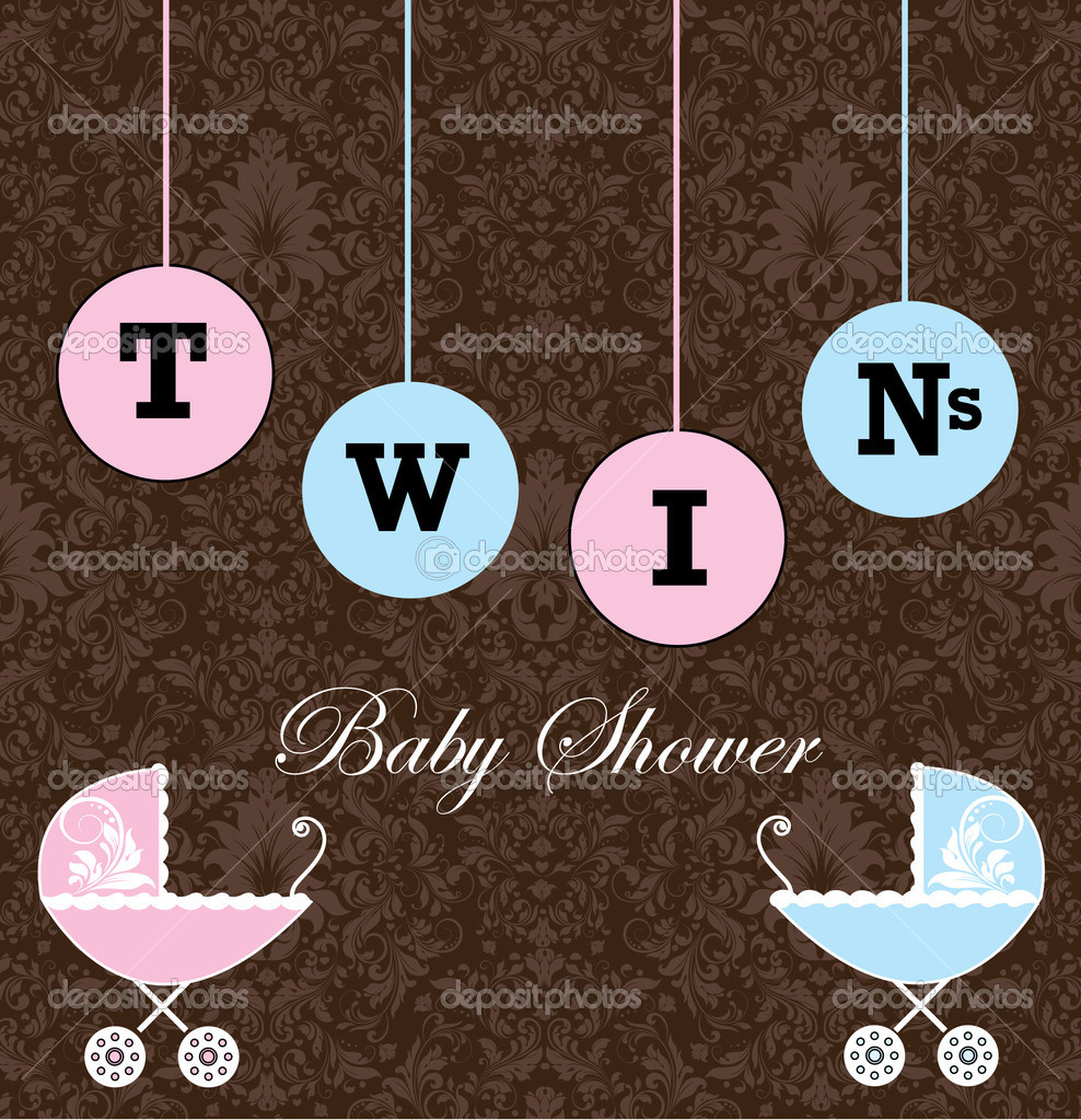 Twins Baby Shower Invitation — Stock Vector © imagepluss #9528090