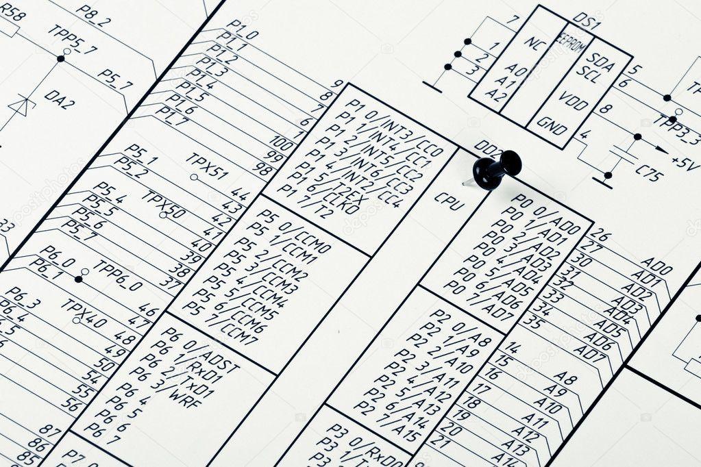 Zeichnen von elektrischen Stromkreis und PIN — Stockfoto © a2bb5s ...