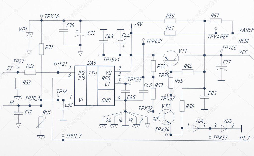 Zeichnung elektrischer Schaltungen — Stockfoto © a2bb5s #8623554
