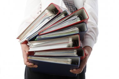 Man holding stack of folders - Isolated