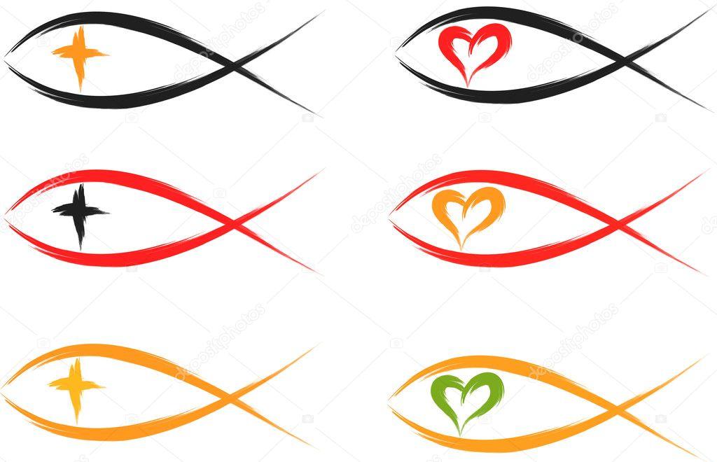Christian Fish Symbols Stock Vector Johny007pandp 10240253