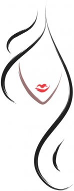 Hair salon logo icon in brush drawing style clip art vector