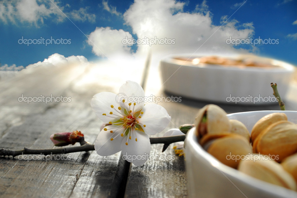 Nuts, flowers and sky