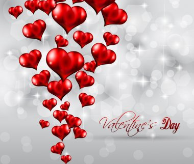Valentine's Day Flyer with a glitter vintage background, and glossy red hearts flying over the air. clip art vector