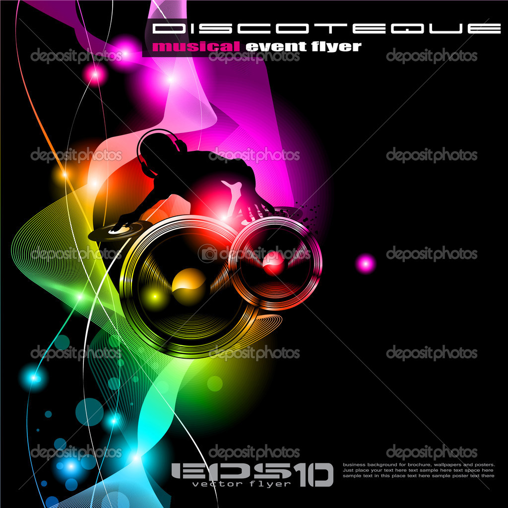 Poster Background For Music International Disco Event With Rainbow Colours Abstract Design Elements And A Lot Of Stars Vector By DavidArts