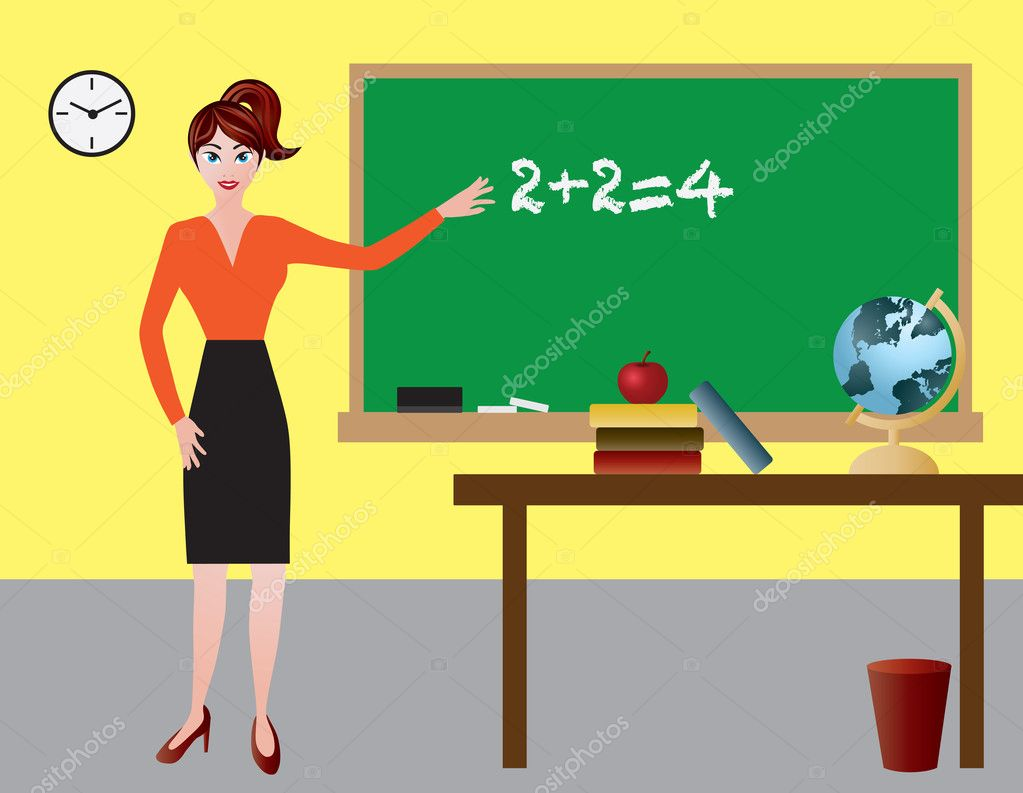 classroom table vector. female teacher in classroom with chalkboard desk apple books and globe illustration \u2014 vector by jpldesigns table p