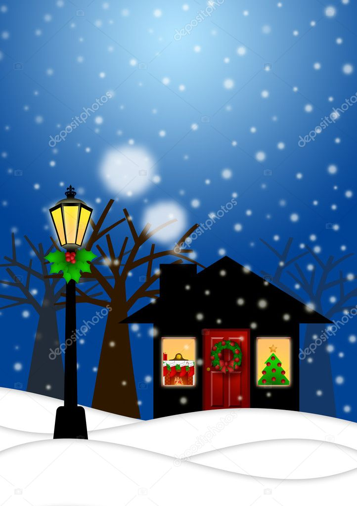 House and Lamp Post in Winter Christmas Scene Illustration