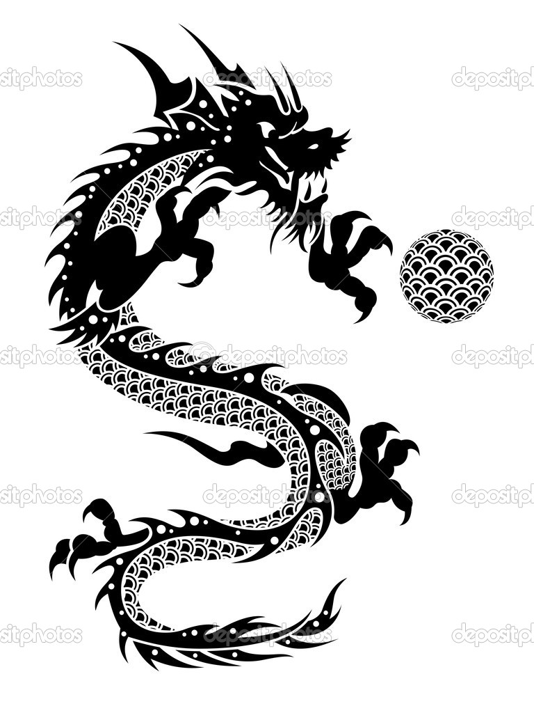 2012 flying chinese dragon with ball clipart u2014 stock photo