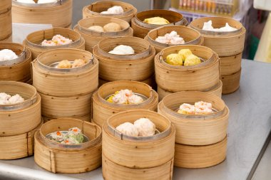 Steamed Dim Sum in Bamboo Trays