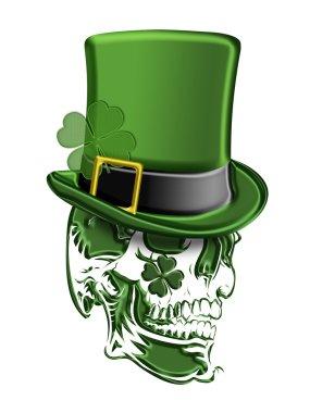 St Patricks Day Green Skull Leprechaun Hat