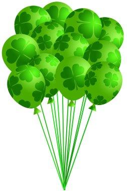 Bunch of Irish Green Balloons with Shamrocks