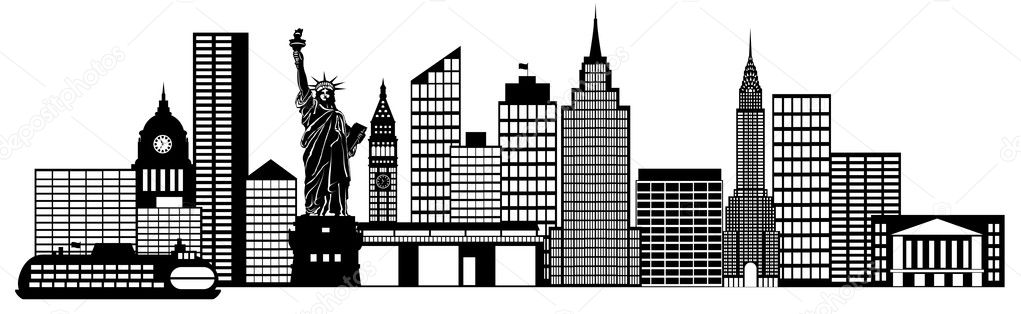 new york city skyline panorama clip art stock photo jpldesigns rh depositphotos com New York City Skyline Drawing new york city skyline clipart
