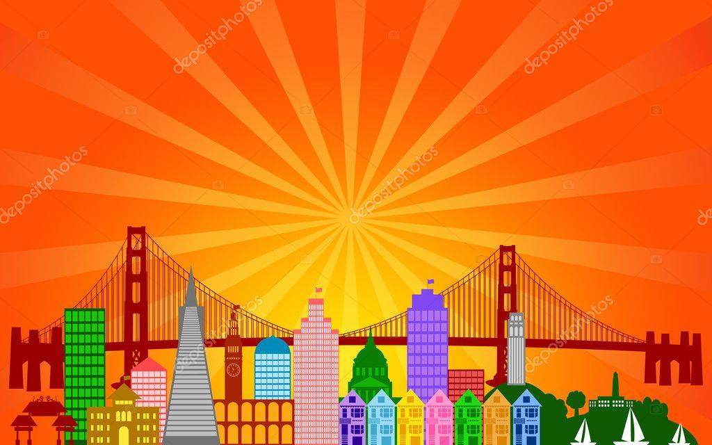 San Francisco City Skyline Panorama