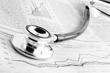 Stethoscope on financial chart