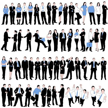 60 Business Silhouettes Set isolated on white background