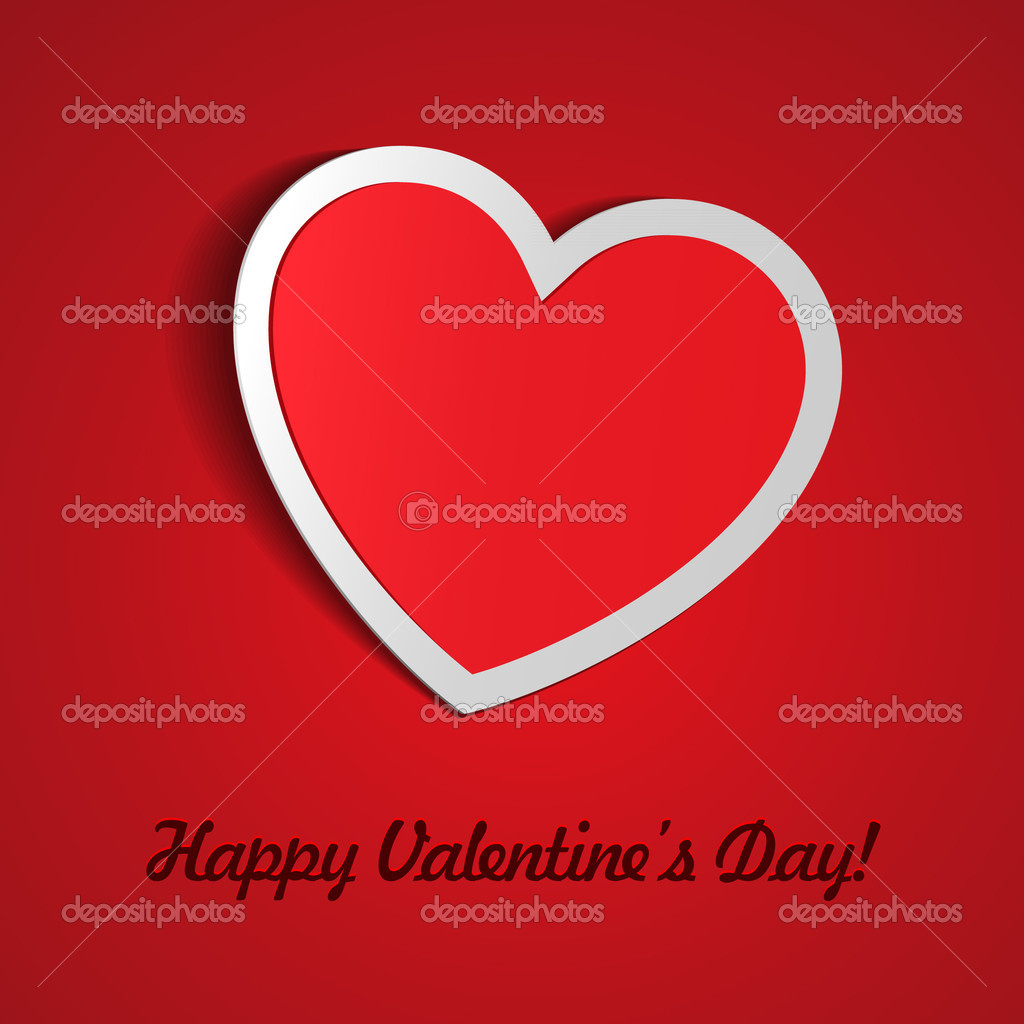 Red Heart Paper Sticker With Shadow Valentine's day