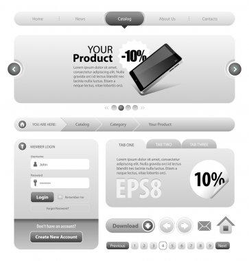 Neo Cool Gray Graphite Website Design Elements