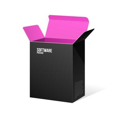 Software Package Box Opened Black Inside Pink Violet Purple