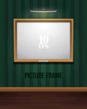 Golden Picture Frame On Striped Green Wall