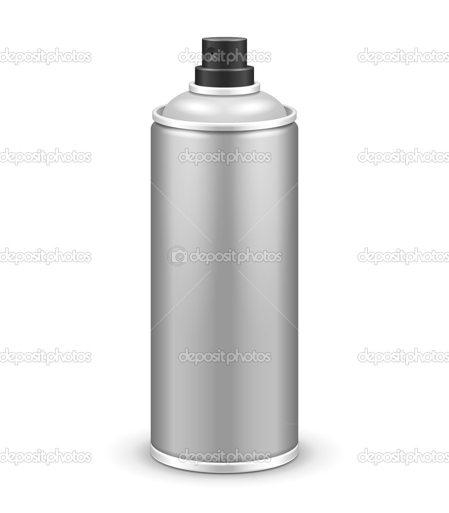 Gray Aerosol Spray Metal 3D Bottle Can: Paint, Graffiti, Deodorant