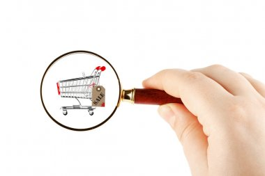 Magnifying glass & shopping trolley