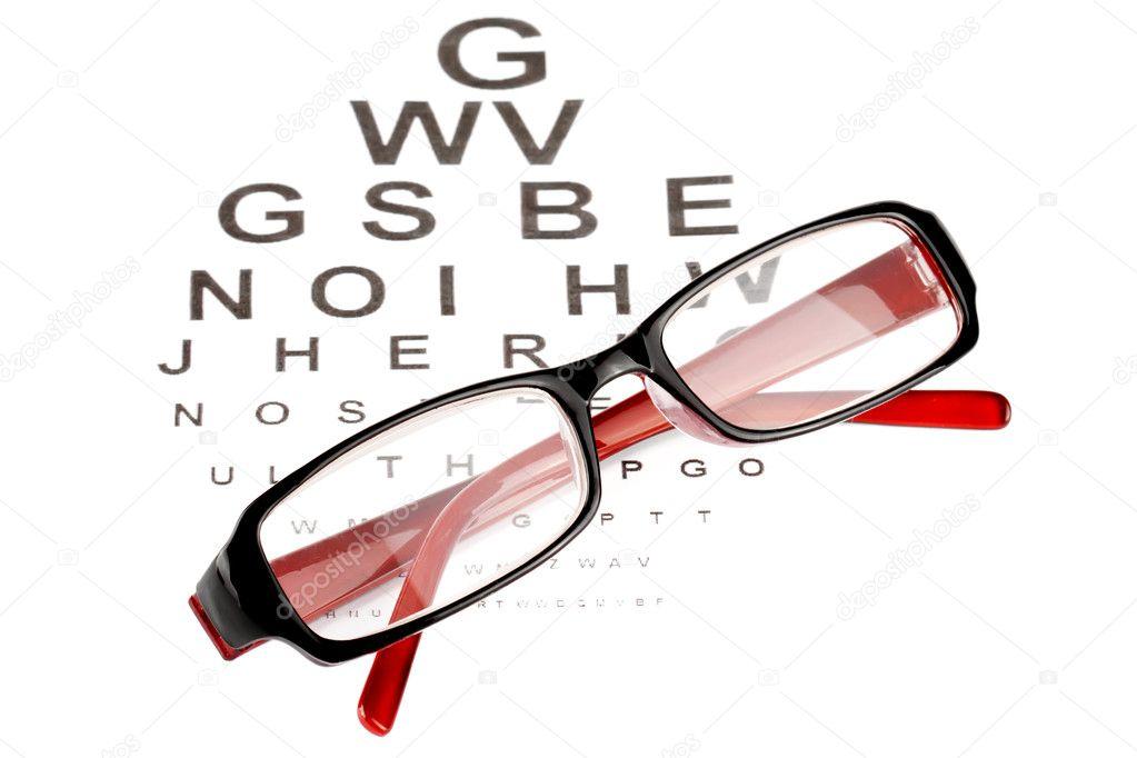 Reading Glasses With Eye Chart Stock Photo Doomu 8615361
