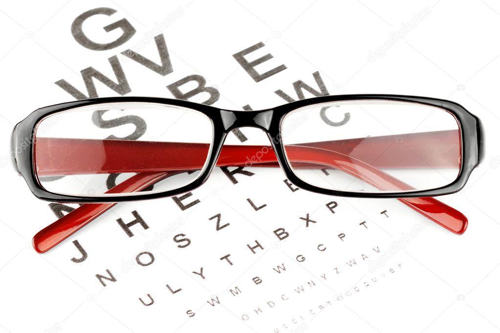 Reading Glasses With Eye Chart Stock Photo Doomu 8615387