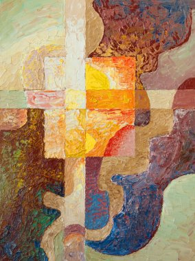 Cross. Oil painting
