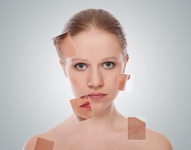 Concept of cosmetic effects, treatment and skin care. face of b