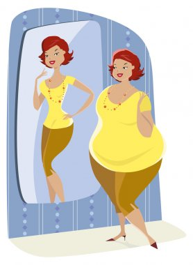 Full lady and her slim reflection
