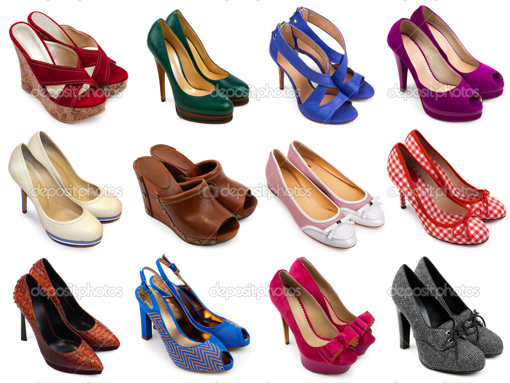 a899489b23c Set of different,multicolored female shoes on a white background.12 pieces.  — Photo by MaleWitch| ...