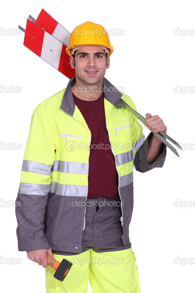 Road Worker Holding Road Signs Stock Photo Photography33 10013566