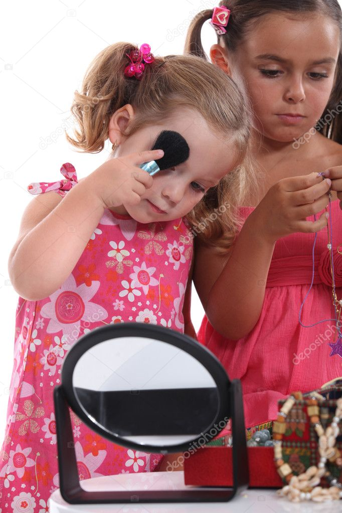 Makeup Ideas makeup for little girls pics : Little girls playing with mummy's makeup and jewelry — Stock Photo ...