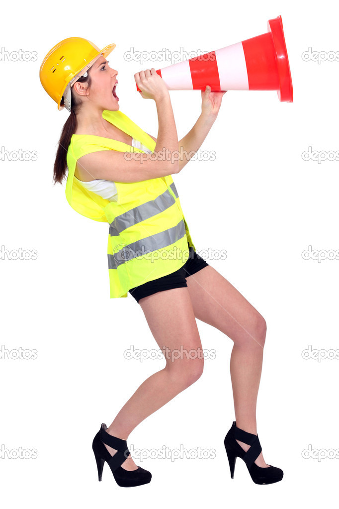 Sexy Woman Dressed As Builder Screaming In A Traffic Cone -4541