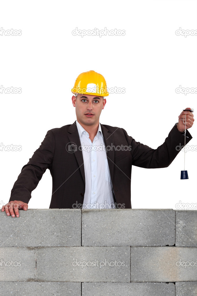 Builder Using A Plumb Line Stock Photo C Photography33 8802122